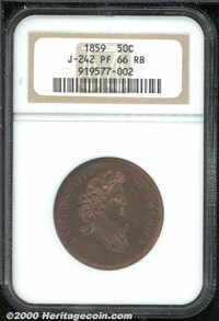 1859 P50C Half Dollar, Judd-242, Pollock-298, R.5, PR 66 Red and Brown NGC. The Longacre design for the half dollar that...