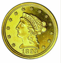 1893 $2 1/2 PR 63. This proof quarter eagle delivery registered a miniscule production of 106 pieces. Faint repunching o...