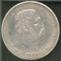 1883 Hawaii Dollar XF 45. Lightly toned in gray-rose shades with bright, multicolored undertones throughout. ...(PCGS# 7...