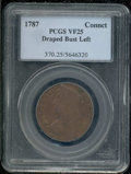 1787 Connecticut Copper VF 25 PCGS. Draped Bust Left. Breen-796. Crimson-brown coloration dominates both sides with blus...