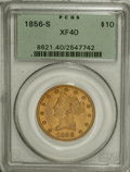 Liberty Eagles: , 1856-S $10 XF40 PCGS. PCGS Population (30/109). NGC Census:(19/194). Mintage: 68,000. Numismedia Wsl. Price for NGC/PCGS c...