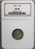 Bust Dimes: , 1831 10C AU58 NGC. NGC Census: (40/163). PCGS Population (26/126).Mintage: 771,350. Numismedia Wsl. Price for NGC/PCGS coi...