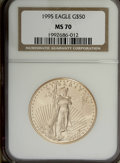 Modern Bullion Coins: , 1995 G$50 One-Ounce Gold Eagle MS70 NGC. NGC Census: (53/0).Mintage: 200,636. Numismedia Wsl. Price...