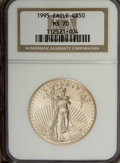 Modern Bullion Coins: , 1995 G$50 One-Ounce Gold Eagle MS70 NGC. NGC Census: (53/0). PCGSPopulation (0/0). Mintage: 200,636. Numismedia Wsl. Price...