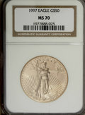Modern Bullion Coins: , 1997 G$50 One-Ounce Gold Eagle MS70 NGC. NGC Census: (51/0). PCGS Population (18/0). Mintage: 664,508. Numismedia Wsl. Pric...