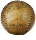 Autographs:Baseballs, 1937 New York Giants Team Signed Baseball. The 1937 baseball seasonsaw yet another all-New York World series as the pennan...
