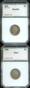 1883 5C With Cents Nickel PR 64 Premium Quality PCI; and an 1888 Nickel PR 64 PCI. Both coins are lightly toned in golde...