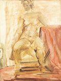 Fine Art - Painting, American:Modern  (1900 1949)  , Attributed to REGINALD MARSH (American, 1898-1954).Demonstration. Oil on masonite. 10 x 8 inches (25.4 x 20.3cm). ...