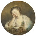 Fine Art - Painting, European:Antique  (Pre 1900), Manner of JEAN-BAPTISTE GREUZE (French, 1725-1805). LostInnocence, 19th Century. Oil on canvas. 11-1/2 inch diameter(2...
