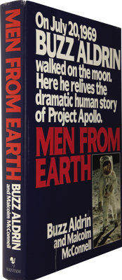 Buzz Aldrin and Malcolm McConnell. Men From Earth Signed by Cunningham, Gordon, Cernan, Aldr