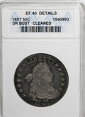 Early Half Dollars, 1807 50C Draped Bust--Cleaned--ANACS. XF40 Details....