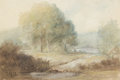 Fine Art - Painting, European:Antique  (Pre 1900), Ascribed to THÉODORE ROUSSEAU (French, 1812-1867). Dans la Foretde Barbizon, circa 1864. Pastel and watercolor on paper...