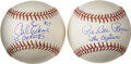Autographs:Baseballs, Carl Erskine and Pee Wee Reese Single Signed Baseballs Lot of 2.After earning their stripes at the major league level as m...