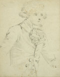 Fine Art - Painting, European:Antique  (Pre 1900), LOUIS JOSEPH WATTEAU (French, 1731-1798). Gentleman withJabet. Graphite on paper. 3 x 2-1/4 inches (7.6 x 5.7 cm). ...