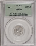 Seated Half Dimes: , 1861 H10C MS60 PCGS. PCGS Population (10/290). NGC Census: (1/385).Mintage: 3,361,000. Numismedia Wsl. Price for NGC/PCGS ...