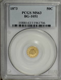 California Fractional Gold: , 1873 50C Indian Round 50 Cents, BG-1051, Low R.5, MS63 PCGS. PCGSPopulation (14/8). NGC Census: (1/1). (#10880)...
