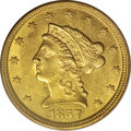 Liberty Quarter Eagles: , 1857-O $2 1/2 MS61 PCGS. The design elements show excellent detailoverall, for a New Orleans Mint product, although some t...