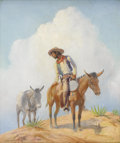 Western:20th Century, LONE WOLF (American 1882-1970). The Prospector. Oil on canvasboard. 12 x 10 inches (30.5 x 25.4 cm). Signed lower left: ...
