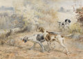 Fine Art - Painting, American:Modern  (1900 1949)  , EDMUND HENRY OSTHAUS (American 1858-1928). Hunting Dogs.Watercolor on paper. 24 x 32 inches (61 x 81.3 cm). Signed lowe...