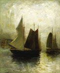Fine Art - Painting, American:Modern  (1900 1949)  , PAUL BERNARD KING (American 1867-1947). Harbor Scene. Oil onmasonite. 30 x 25 inches (76.2 x 63.5 cm). Signed lower ri...