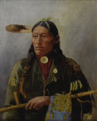 HENRY FRANCOIS FARNY (American 1847-1916) Ogalala Fire, circa 1890-1900 Oil on canvas 11 x 9 inches (27.9 x 22.9 cm)&amp...