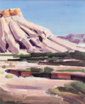 Fine Art - Painting, American:Contemporary   (1950 to present)  , CONRAD BUFF (American 1886-1975). Untitled (Mesa landscape) with portrait on verso. Oil on board. 14 x 11-1/2 inches (35...
