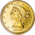 Proof Liberty Half Eagles: , 1904 $5 PR63 PCGS. The 1904 proof half eagle comes with a mintageof 136 pieces. Only 50 to 75 coins are estimated to survi...