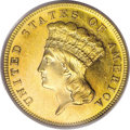 Proof Three Dollar Gold Pieces: , 1887 $3 PR62 Cameo PCGS. The 1887 three dollar saw 160 proofs. ThisPR62 example displays profound Cameo contrast and sharp...