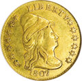 Early Quarter Eagles: , 1807 $2 1/2 --Bent, Damaged--ANACS. XF40 Details. Breen-6124, BD-1,R.3. Canary-gold save for curious aqua-blue toning near ...
