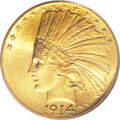 Indian Eagles: , 1914 $10 MS65 PCGS. This coin is well-deserving of its Gem grade,as a beautiful example with well-blended yellow-gold and...