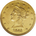 Liberty Eagles: , 1845-O $10 AU53 NGC. The 1845-O is a better New Orleans issue. Ascant 47,500 pieces were struck, most of which have been l...
