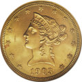 Liberty Eagles: , 1903-O $10 MS65 NGC. This piece is the single finest example of the date that has been certified by NGC, while PCGS has onl...