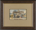 """Military & Patriotic:Civil War, Civil War Watercolor of General Franz Sigel's Headquarters at Sperriville. This 9"""" x 5.5"""" watercolor was painted by Anthony..."""