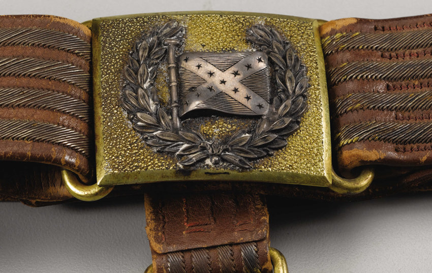 Military & Patriotic:Civil War, Confederate General's Battle Flag Sword Belt Set Similar to GeneralHood's. The centerpiece of this wartime treasure is, of ...