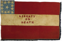"""Confederate """"Liberty or Death"""" Flag Captured by Custer's Cavalry from Stuart's Cavalry During the Retreat afte..."""