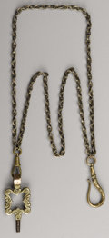 """Military & Patriotic:Civil War, Gold Watch Chain Belonging To Confederate General """"Extra Billy"""" Smith, 15"""" overall length, pale gold, complete with hanger a..."""