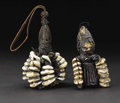 African: , Yoruba (Nigeria). Eshu/Elegba Image. Wood, Cowry shells, leather. Height (well-preserved): 4 1/8 inches Width: 2 5/8 inche...