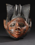 African: , Yoruba (Nigeria). Gelede Mask. Wood, pigment. Height: 11inches Width: 7 ¾ inches. Similar in type and function to th...