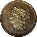 Patterns: , 1854 P1C One Cent, Judd-161, Pollock-187, R.4, PR65 Brown NGC.Reduced size large cent with the obverse showing the head of...