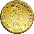 Early Eagles: , 1803 $10 Small Stars Reverse--Damaged, Cleaned--ANACS. XF45Details. Breen-6844, Taraszka-28, BD-3, R.4. A bright canary-go...