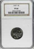 Proof Buffalo Nickels: , 1937 5C PR66 NGC. This is a beautifully preserved proof withexactingly struck design details and bright, flashy surfaces. ...