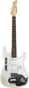 Music Memorabilia:Autographs and Signed Items, James Taylor Signed Guitar. A white Signature Series electricguitar with a James Taylor logo and image on the body, signed ...(Total: 1 Item)