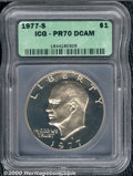 1977-S $1 PR 70 Deep Cameo ICG. Untoned and free of any post striking defects. A perfect specimen. ...(PCGS# 7437)