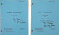 "Movie/TV Memorabilia:Memorabilia, Buddy Ebsen's First Two Matt Houston Scripts. Ebsen hadwritten ""My personal script Buddy Ebsen"" on the covers of th...(Total: 1 Item)"
