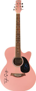 Music Memorabilia:Autographs and Signed Items, Taylor Swift Signed Guitar. A pink Copley CA400 acoustic guitarwith a Taylor Swift logo on the body, signed on the pick gua...(Total: 1 Item)