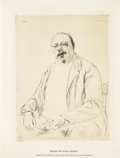 Fine Art - Painting, European:Antique  (Pre 1900), MAX LIEBERMANN (German, 1847-1935). Portrait of Baron Berger. Etching on laid paper. 9-1/2 x 7 inches (24.1 x 17.8 cm). ...