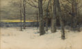 Fine Art - Painting, American:Antique  (Pre 1900), CHARLES WARREN EATON (American, 1857-1937). WinterLandscape, 1899. Watercolor . 12 x 20 inches (30.5 x 50.8 cm).Signed...