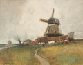 Fine Art - Painting, American:Antique  (Pre 1900), WILLIAM RITSCHEL (American, 1864-1949). Dutch Landscape withWindmill . Watercolor on paper. 21 x 27-3/4 inches (53.3 x ...