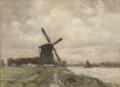 19th Century European:Landscape, ARTHUR FEUDEL (Dutch, 1857-1957). River Landscape withWindmill. Watercolor on paper. 8-5/8 x 12 inches (22 x 30.5cm). ...