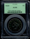 1820 1C Large Date AU 58 PCGS. N-13. Deep steel-brown color with subtle bluish undertones. Affordable quality in this mo...